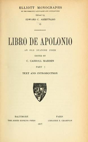 Libro de Apolonio by C. Carroll Marden
