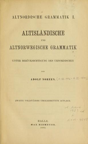 Altisländische und altnorwegische Grammatik