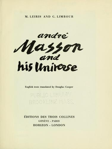 André Masson and his universe by Leiris, Michel