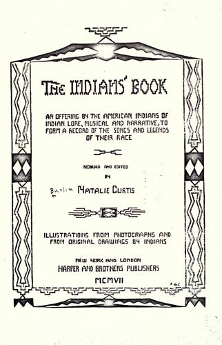 The Indians' book by Natalie Curtis Burlin