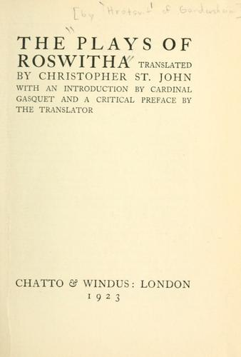 The plays of Roswitha by Hrotsvitha
