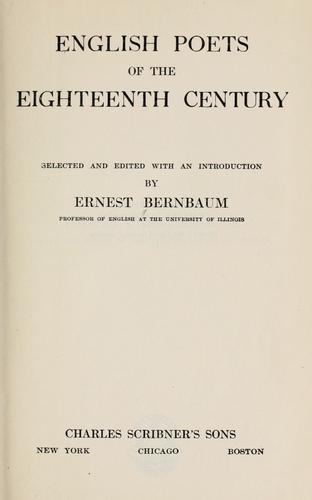 English poets of the eighteenth century by Bernbaum, Ernest