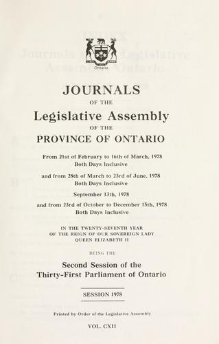 Journals of the Legislative Assembly of the Province of Ontario. by Ontario. Legislative Assembly.