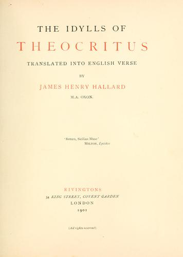 The idylls of Theocritus by Theocritus