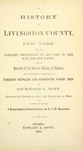 A history of Livingston County, New York by Lockwood L. Doty