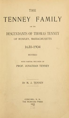 The Tenney family by M. J. Tenney