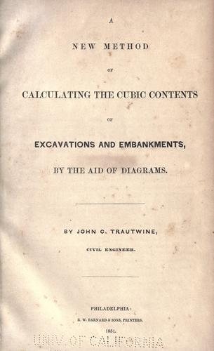 A new method of calculating the cubic contents of excavations and embankments, by the aid of diagrams.