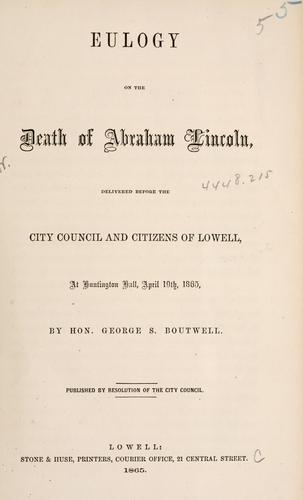 Eulogy on the death of Abraham Lincoln