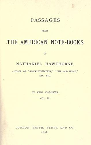 Passages from the American note-books.
