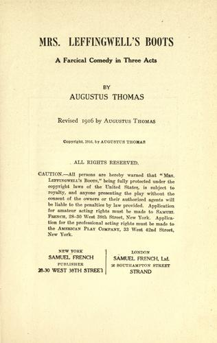 Mrs. Leffingwell's boots by Augustus Thomas