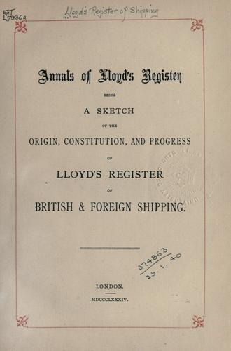 Annals of Lloyd's register by