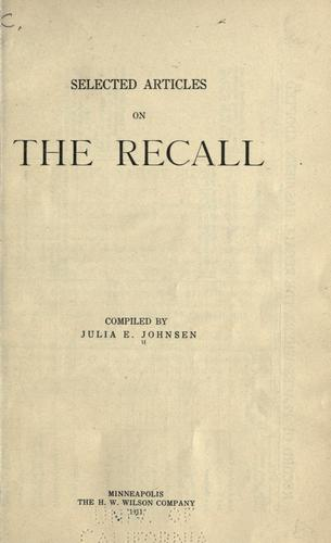 Selected articles on the recall by Julia E. Johnsen
