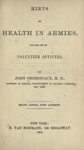 Hints on health in armies by John Ordronaux