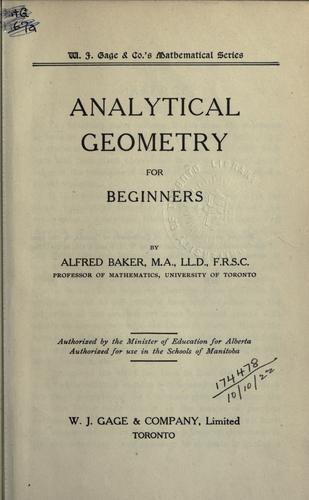 Analytical geometry for beginners by Baker, Alfred
