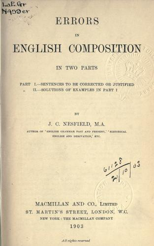 Errors in English composition by John Collinson Nesfield