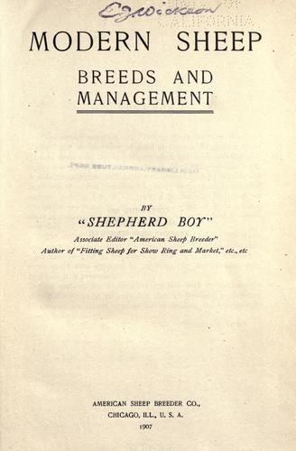 Modern sheep, breeds and management by